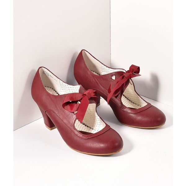 Vintage Style Burgundy Leatherette Mary Jane Bow Wiggle Heels Shoes ($58) ❤ liked on Polyvore featuring shoes, pumps, red, mary jane shoes, red bow pumps, bow pumps, maryjane pumps and red mary jane shoes