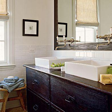 coastal living: Bathroom Design, Romans Shades, Beaches House, Vessel Sinks, Old Dressers, Bathroom Vanities, Subway Tile, Bathroom Sinks, Bathroom Ideas