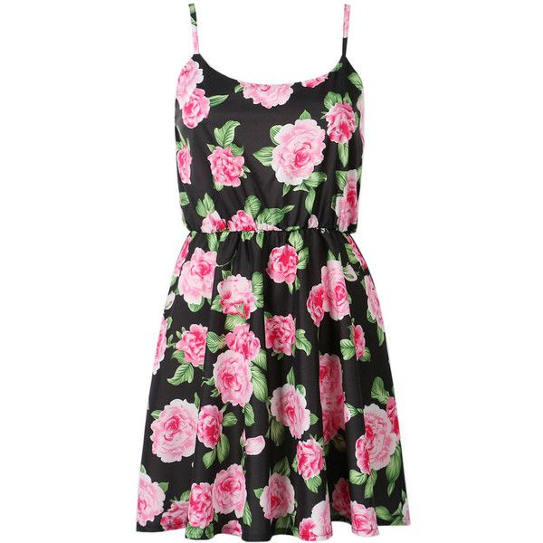 Choies Black Floral Print Chiffon Cami Skater Dress ($14) found on Polyvore featuring dresses, vestidos, black, robe, pink camisole, black skater dress, skater dress, pink black dress and black camisole