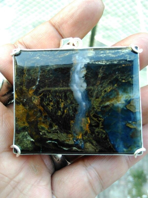 Pictorial agate - origin teluk wasambe papua with silver