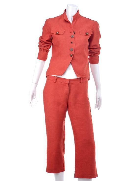 Completo giacca e pantalone vintage anni '90, lino e viscosa rosso corallo, taglia 42, ottima vestibilità
