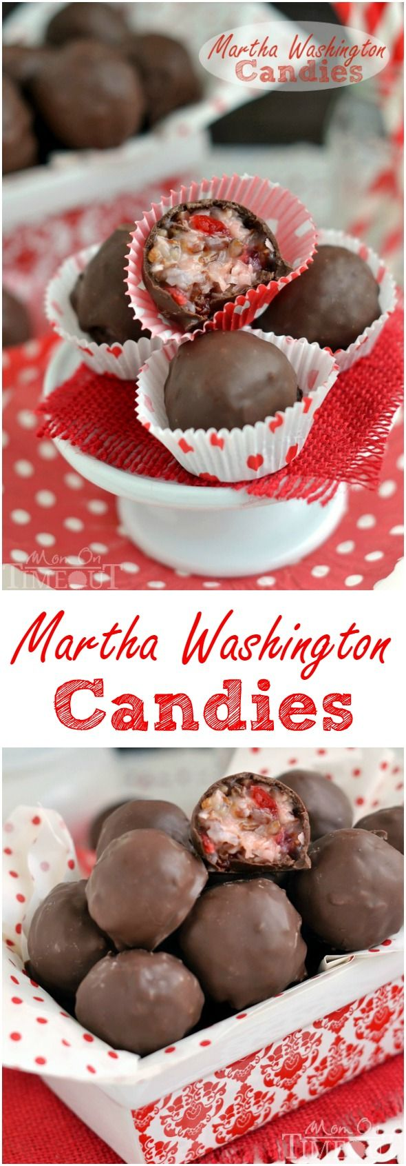 These Martha Washington Candies are an excellent addition to your holiday celebrations, are ideal for gift giving, and look impressive on a cookie tray!  Perfect for the holidays and Valentine's Day! // Mom On Timeout