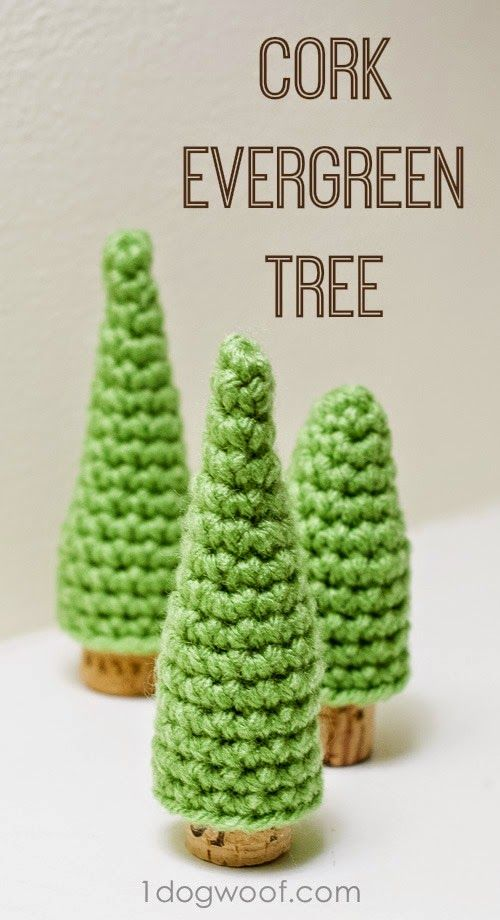 Upcycle your wine corks! Make a forest of cork pine crochet trees with this free pattern at One Dog Woof....