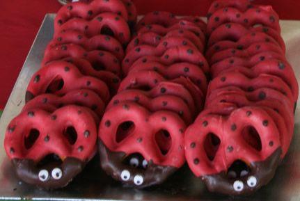 Ladybug pretzels                                                                                                                                                      More