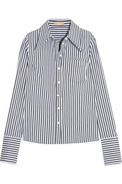 Michael Kors Collection - Striped Stretch Cotton-blend Poplin Shirt - White - US10