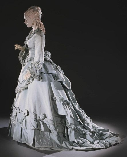 Day Dress: ca. 1875, American, silk faille, trim.