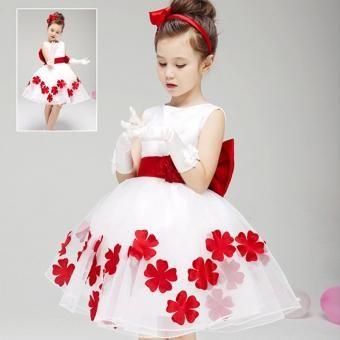 Vestidos florales para chicas sin mangas Niñas Ropa blanca vestido de fiesta de la princesa (rojo)