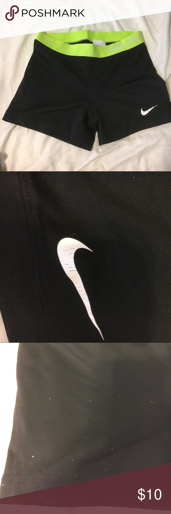 Black Nike shorts Black Nike running shorts. I spray painted a chair while wearing these so theres a few white paint dots here and there Nike Shorts