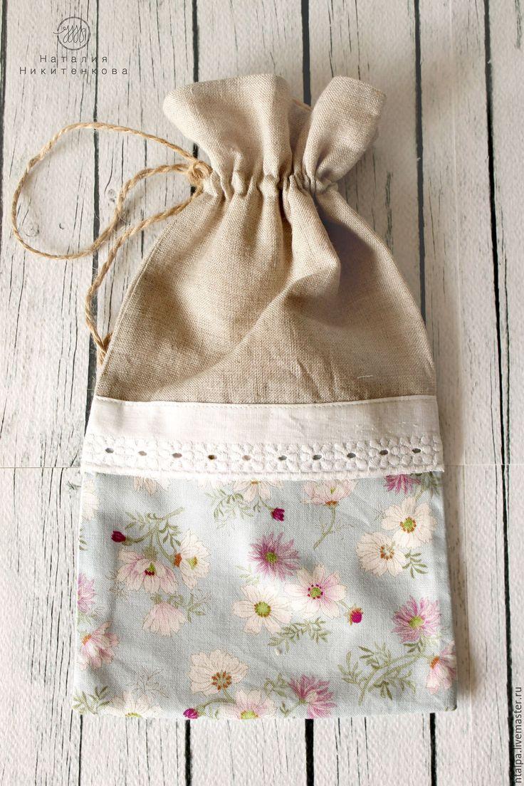 Купить Мешочек для трав из льна и хлопка. - голубой, стиль кантри, мешочек, мешочек для хлеба, мешочки