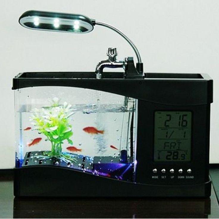 Usb Desktop Electronic Aquarium Mini Fish Tank with Water Running LED Pump Light Calendar Alarm Clock