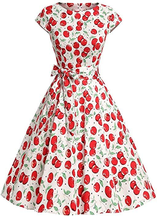 5c42c636aad4 Tecrio Women 1950's Vintage Capshoulder Floral Rockabilly Party Swing Dress  (X-Large, Cherries) at Amazon Women's Clothing store: