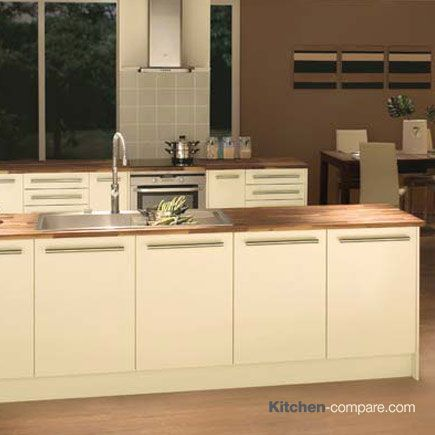 Homebase - Hygena Sanvito Cream. Clean lines and a luxuriously smooth finish ensure that Sanvito Cream is an ultra stylish kitchen that's neutral tones can be mixed with other complementary ranges. Find our more information here - http://bit.ly/1V0wpkZ