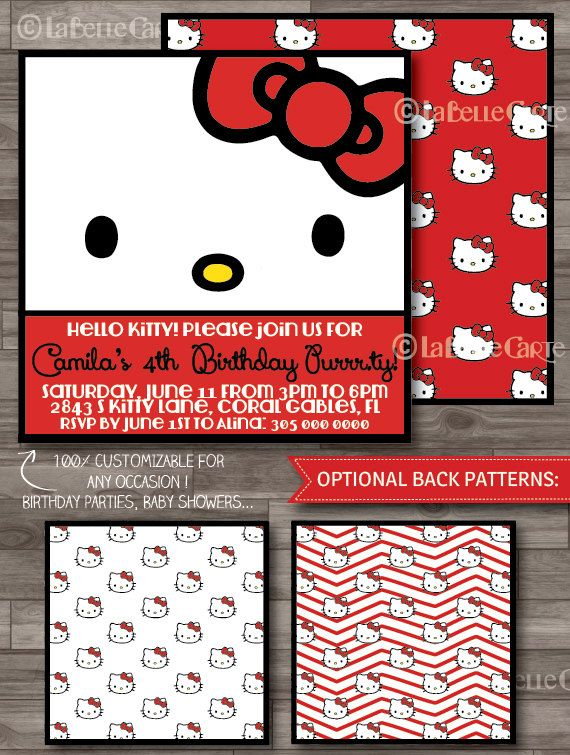Hello Kitty Birthday Invitations Hello Kitty Party, Hello Kitty Invitations, Hello Kitty Baby Shower, Red by LaBelleCarte, $10.00