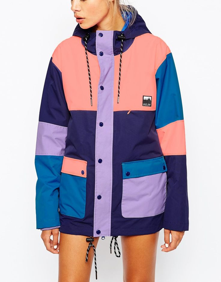 Image 3 ofLazy Oaf Hooded Mac Jacket With Multi Colour Block