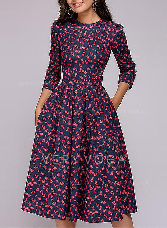 77e109e9ce86 Print 3 4 Sleeves A-line Knee Length Vintage Dresses (199241672) in ...