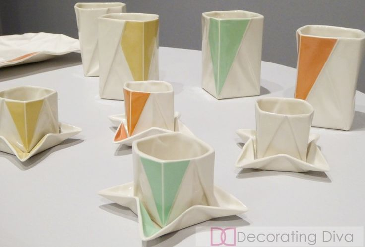 Carmen Natschke: Designed by Moij Design these tabletop objects are inspired by Japanese art of paper folding -oragami.  Tabletop Talents Ambiente 2015 |  The Decorating Diva, LLC