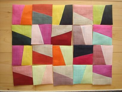 Moshi tea placemat made with Bojagi patchwork technique. Variances in shapes and combinations of colour.