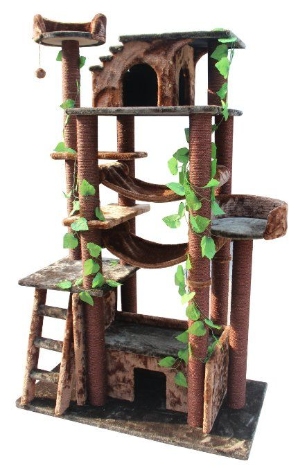Amazon.com: Kitty Mansions Amazon Cat Tree, Green/Brown: Pet Supplies
