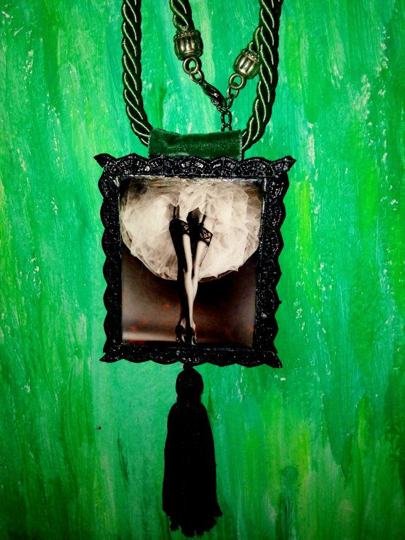 framed fotograph hanging from silk twisted cord by KirkisCharms, €25.00