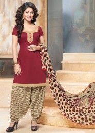 Casual Wear Maroon Glace Cotton Lace Border Work Patiala Suit