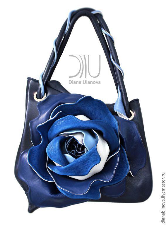 Купить Роза классик - темно-синий, орхидея, сумка кожаная, подарок женщине, кожа натуральная