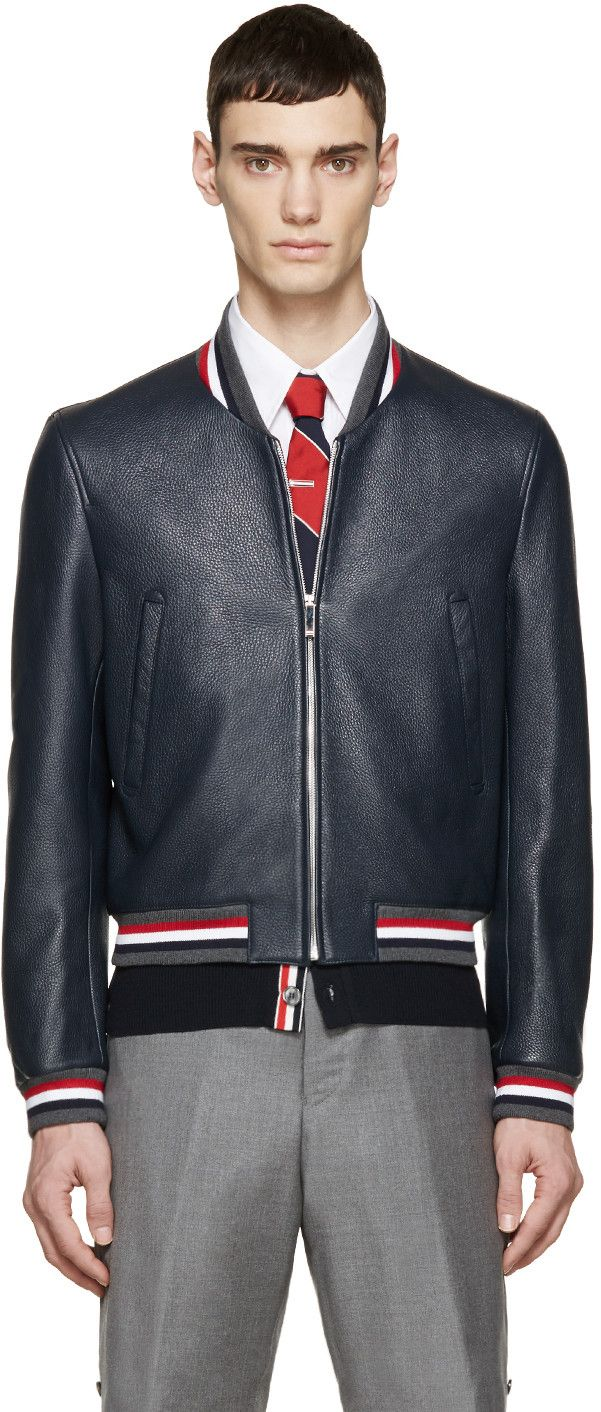 Thom Browne Navy Leather Varsity Bomber Jacket