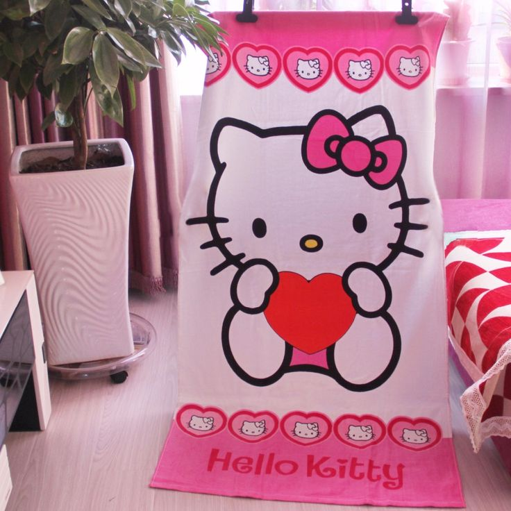 155*75cm Cute Cotton Cartoon Hello Kitty Children Bath Towel Bathroom Towels Shower Travel Swim Spa Beach towels for Kids Adults