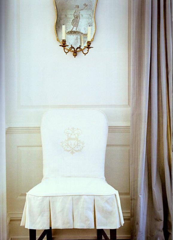 Beautiful monogrammed slip covered chair | La Maison Gray