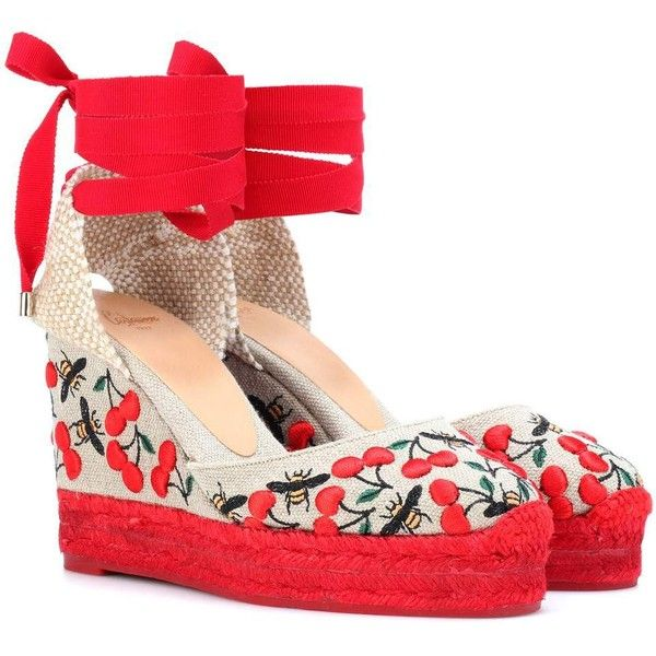 Castañer Carina Wedge Espadrilles ($225) ❤ liked on Polyvore featuring shoes, sandals, red, red sandals, wedge shoes, espadrille sandals, red espadrilles and wedge heel espadrilles
