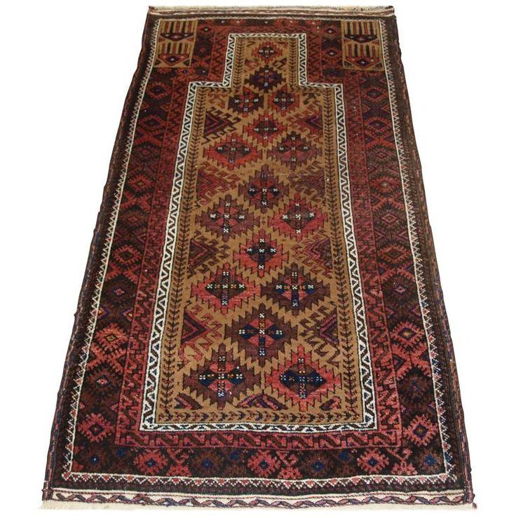 Antique Baluch Camel Ground Prayer Rug, circa 1900 For Sale