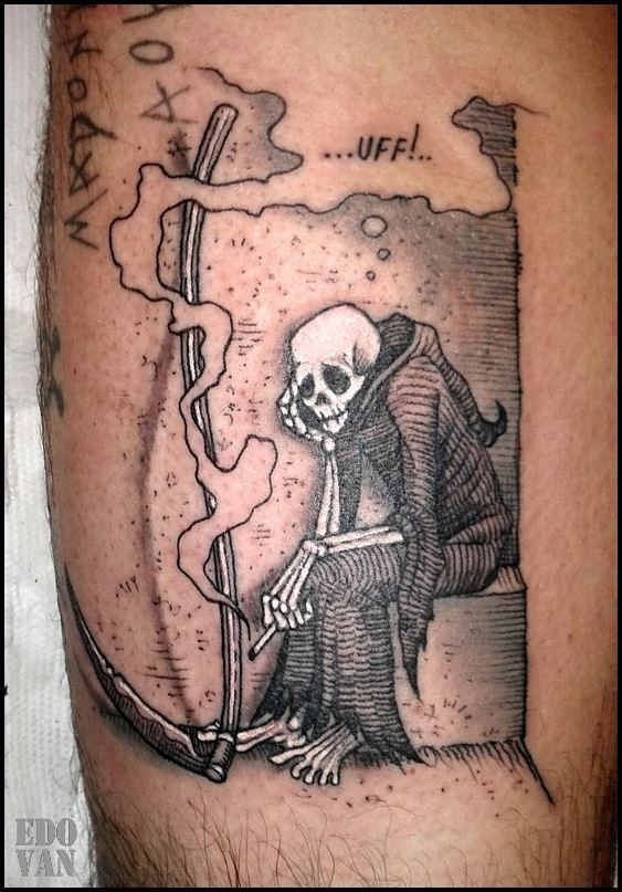 Love this.  Perfect for my right shoulder.  Death takes a smoke break tattoo by Edo Van