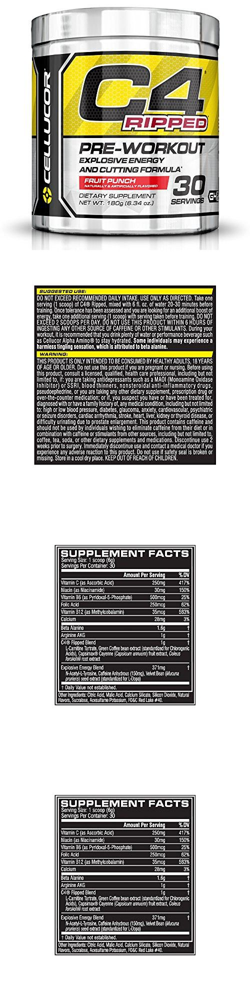 Cellucor C4 Ripped Pre Workout Thermogenic Fat Burner with Energy and Weight Loss, Fruit Punch, 180g (6.34 oz.)- 30 count