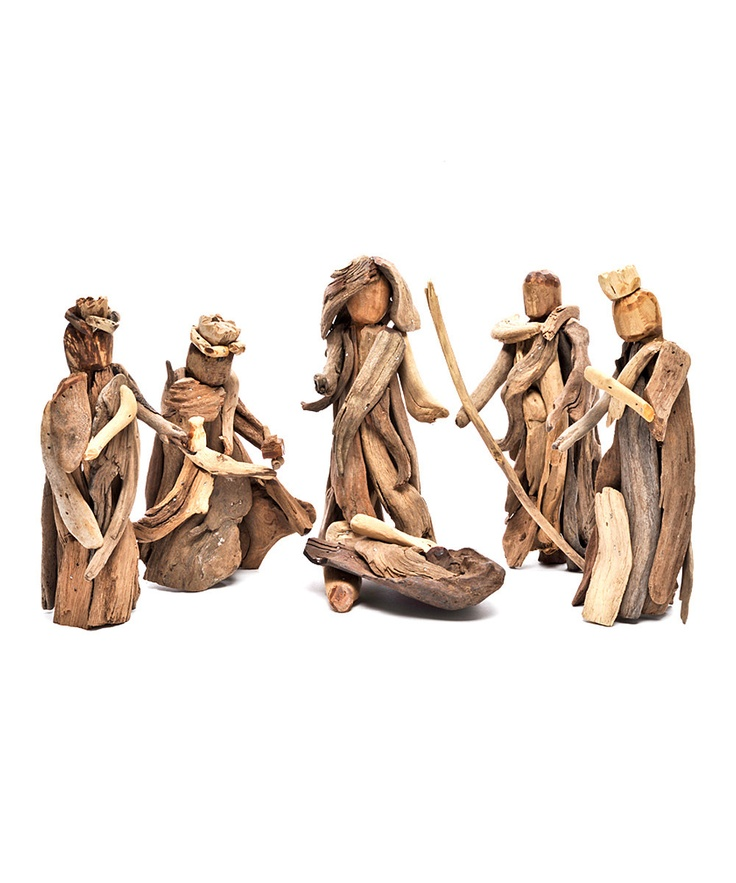 Driftwood Nativity Figurines Set on Zulily.com