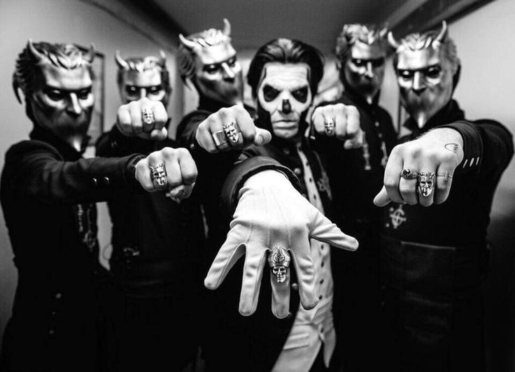 Papa Emeritus III and the Nameless Ghouls of the band Ghost after their recent London Palladium Show wearing their official TGF X Ghost Collaborative Rings.
