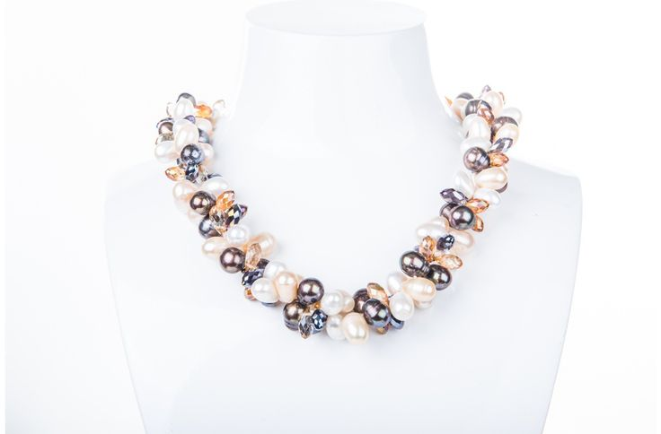 Double Strand Twisted with Crystal and Freshwater Pearl Necklace