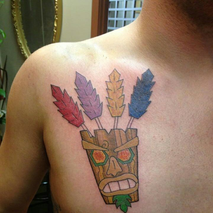 Read Complete Aku Aku Tattoo On Man Front Shoulder