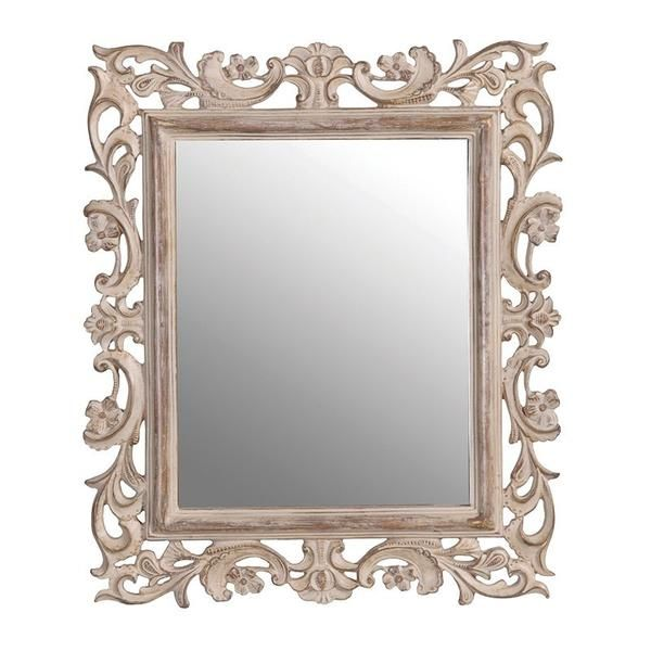 Pretty intricately carved wooden mirror that will stand like a photo frame on the dressing table, shelf or chest of drawers.  Size H: 365mm W: 315mm