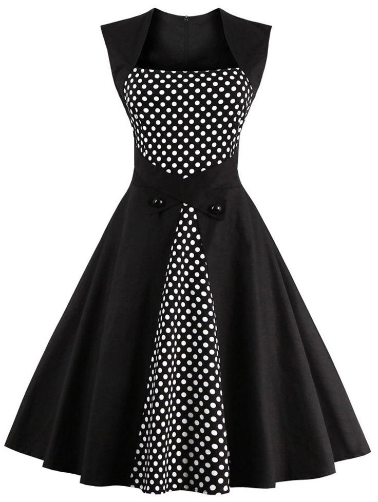 Retro Polka Dot Square Neck Swing Dress