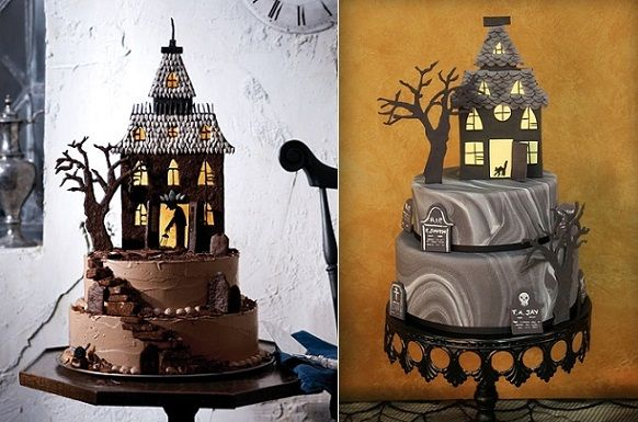 halloween haunted house cake tutorial by Martha Stewart Living (left) and via Indulgy.com (right).