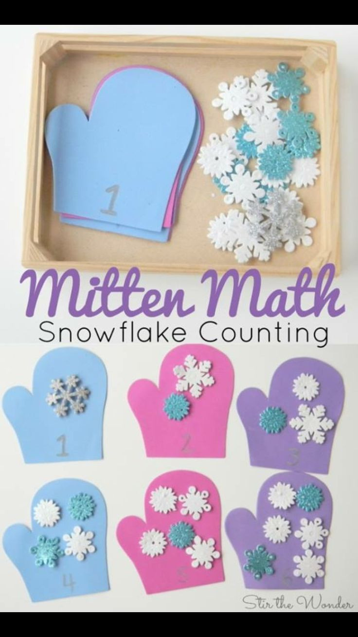Snowflake mittens for number recognition