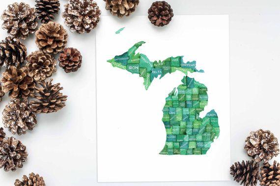 Michigan Grafschaften, Aquarell Karte, Michigan State Karte, Karte Kunst, Geographie Kunst, Michigan Kunst, Great Lakes, Midwest, bemalte Karte, Klassenzimmer