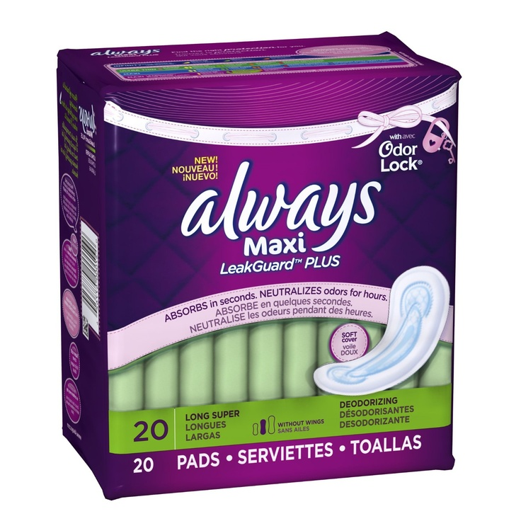 Always Maxi LeakGuard Plus Odor-Lock Pads (40 Count, Pack of 2) $2.61