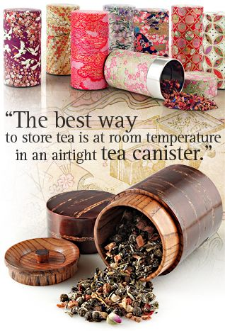 The best way to store tea is at room temperature in an airtight tea canister. Unlike coffee, you cannot wrap up tea and put it in the freezer. Tea will lose its flavor and scent quickly if stored in fancy, purely decorative tea containers or kept near a heat source, such as a stove or next to the toaster in your kitchen. #tea #health #howto