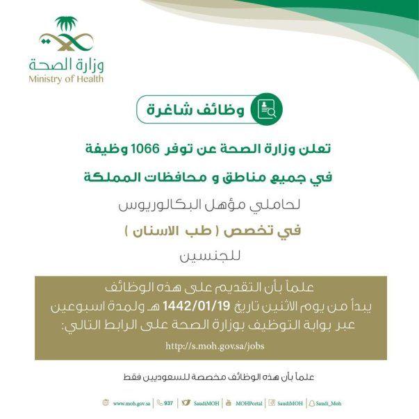 وزارة الصحة تعلن عن 1066 وظيفة طبيب مقيم أسنان للرجال والنساء Health Job Ministry