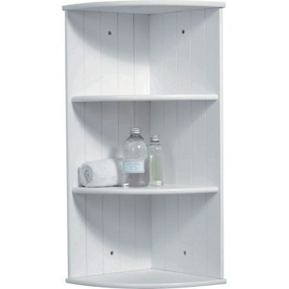 tongue and groove corner shelves white