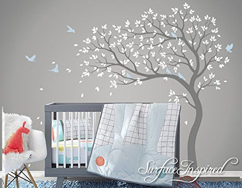 Beautiful Removable Vinyl Blossom Tree Wall Stickers with Birds Tree Wall Decal Nursery Large Pink Tree Wall Sticker for Girls Bedrooms