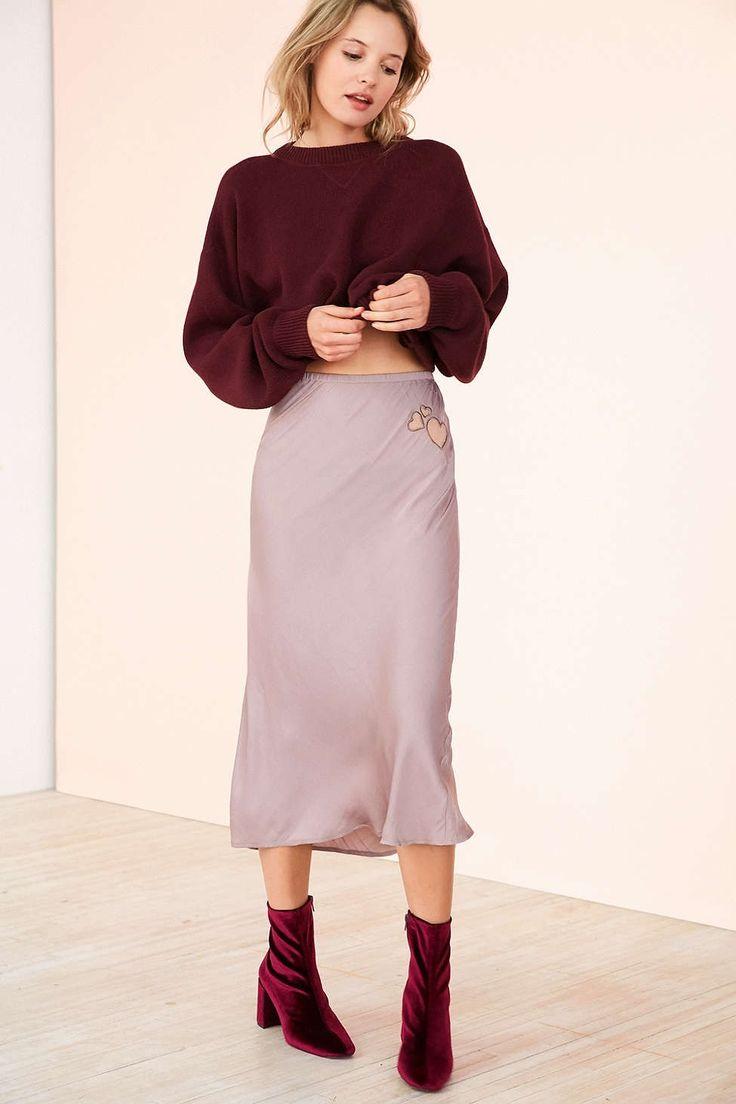 Kimchi Blue Heart Patch Satin Slip Midi Skirt - Urban Outfitters