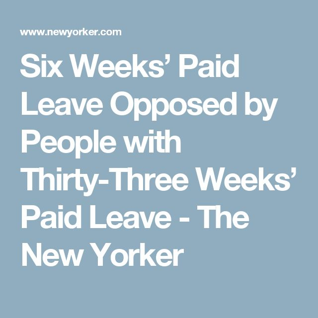 Six Weeks' Paid Leave Opposed by People with Thirty-Three Weeks' Paid Leave - The New Yorker