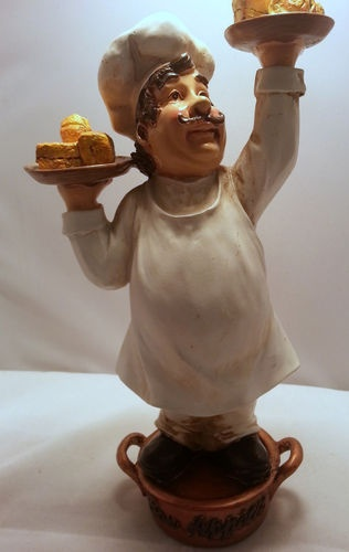 Kitchen restaurant decor fat chef waiter statue