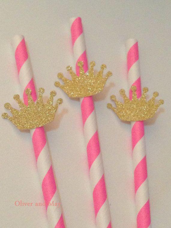 10 Pink Stripe Polka Dot Paper Drinking Straws by OliverandMay